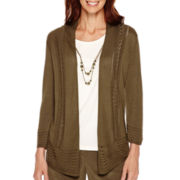 Alfred Dunner® Calabria 3/4-Sleeve Layered Sweater with Necklace - Petite