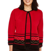 Alfred Dunner® 3/4-Sleever Border Layered Sweater