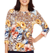 Alfred Dunner® El Dorado 3/4-Sleeve Floral Patch Top