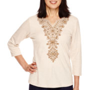 Alfred Dunner® El Dorado 3/4-Sleeve Embroidery Center Top