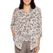 Alfred Dunner® Copenhagen 3/4-Sleeve Animal Print Layered Top