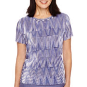 Alfred Dunner® Copenhagen Short-Sleeve Tiered Ruffle Top