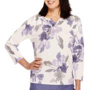 Alfred Dunner® Copenhagen 3/4-Sleeve Floral Sweater