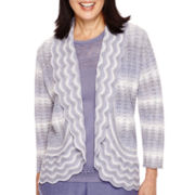 Alfred Dunner® Copenhagen 3/4-Sleeve Pointelle Cardigan Sweater