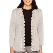 Alfred Dunner® Copenhagen Long-Sleeve Faux-Fur Trimmed Cardigan Sweater