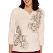 Alfred Dunner® Calabria 3/4-Sleeve Embroidered Top