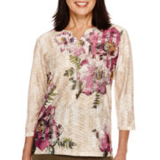 Alfred Dunner® Calabria 3/4-Sleeve Floral Top