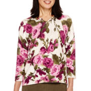 Alfred Dunner® Calabria 3/4-Sleeve Floral Sweater