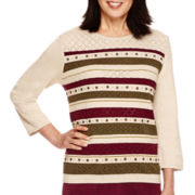 Alfred Dunner® Calabria 3/4-Sleeve Pointelle Stripe Sweater