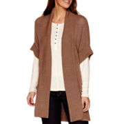 Liz Claiborne® Short-Sleeve Textured Cocoon Duster - Tall