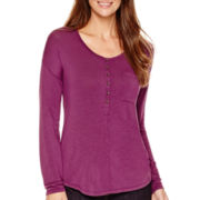 Liz Claiborne® Long-Sleeve Scoopneck Button-Front Henley