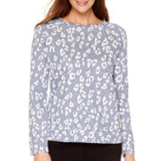 Liz Claiborne® Long-Sleeve Jacquard Animal Sweatshirt