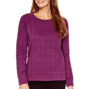 Liz Claiborne® Long-Sleeve Chevron Textured Sweatshirt