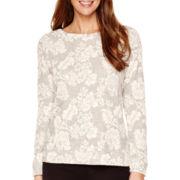 Liz Claiborne® Long-Sleeve Floral Print Sweatshirt