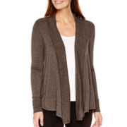 Liz Claiborne® Long-Sleeve Ribbed-Trim Cardigan