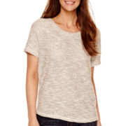 Liz Claiborne® Short-Sleeve Textured Sweatshirt