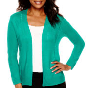 Worthington® Long-Sleeve High-Low Open-Stitch Flyaway Cardigan - Tall