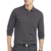 Van Heusen® Long-Sleeve Jaspé Windowpane Polo