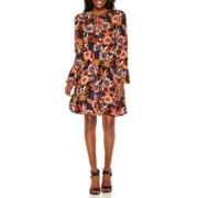 Weslee Rose Long-Sleeve Fit- and-Flare Dress