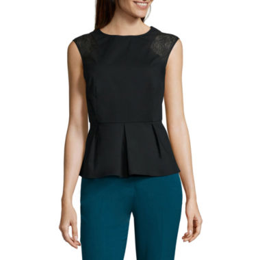 jcpenney.com | Worthington® Sleeveless Eyelet Mixed Peplum Top - Tall