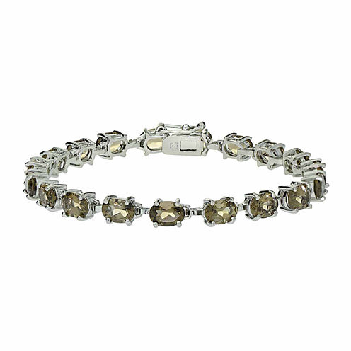 Genuine Smoky Quartz Sterling Silver Bracelet