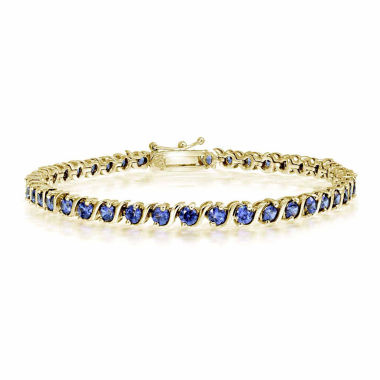 jcpenney.com | Womens 7.25 Inch Blue Tanzanite Gold Over Silver Link Bracelet