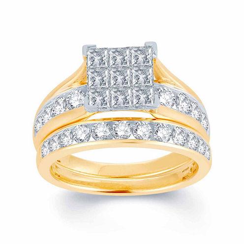 Womens 1 CT. T.W. Genuine White 10K Gold Bridal Set