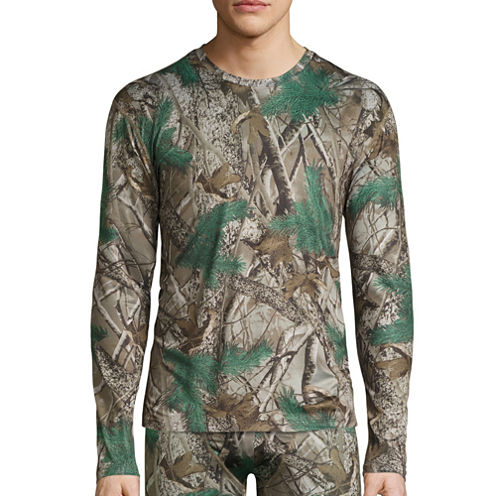 St. John's Bay® Poly Stretch Camo Crew Neck Long Sleeve Tee