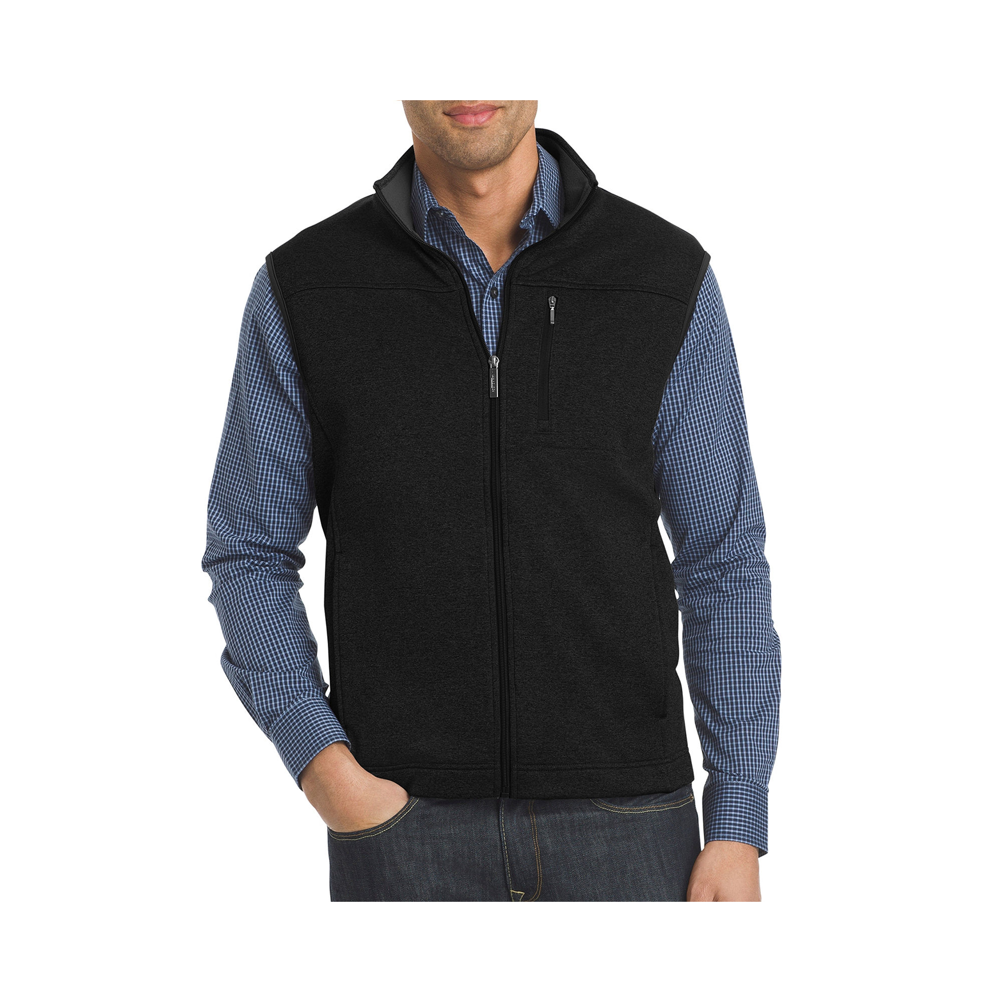 VAN HEUSEN SLEEVELESS FULL-ZIP TRAVELER VEST