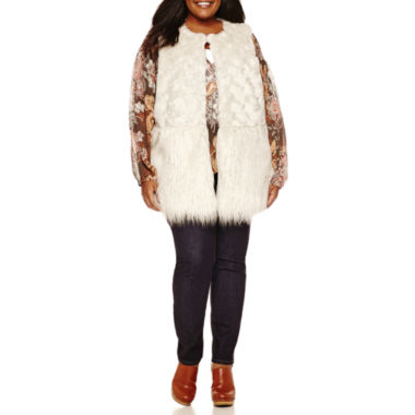 jcpenney.com | a.n.a® Faux-Fur Vest Peasant Blouse or Skinny Jeans