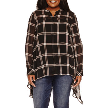 jcpenney.com | a.n.a® Long-Sleeve Tunic Top - Plus