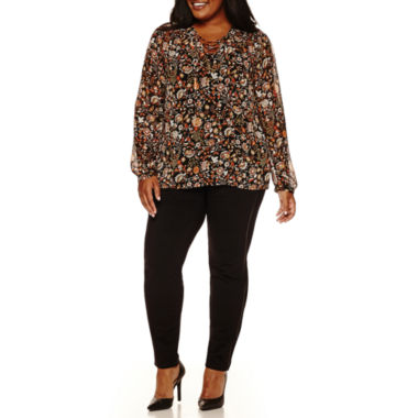 jcpenney.com | a.n.a® Long-Sleeve Lace-Front Peasant Blouse or Pieced Pleather Leggings - Plus