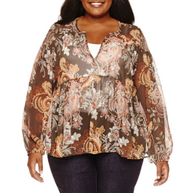 jcpenney.com | a.n.a® Long-Sleeve Peasant Blouse - Plus