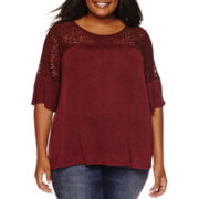 a.n.a Elbow Sleeve Round Neck Knit Blouse-Plus