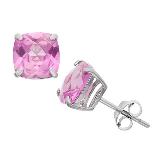 Cushion Pink Sapphire Sterling Silver Stud Earrings