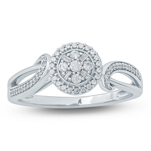 Womens 1/4 CT. T.W. Genuine White Diamond 10K Gold Promise Ring