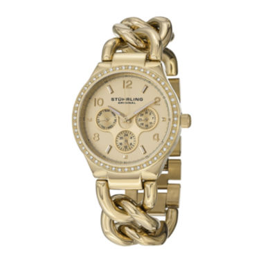 jcpenney.com | Stührling® Original Womens Crystal-Accent Gold-Tone Stainless Steel Chain Bracelet Watch