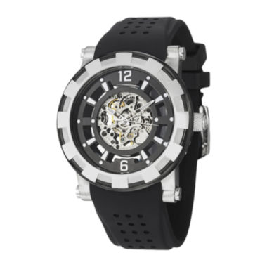 jcpenney.com | Stührling® Original Mens Silver-Tone Bezel Black Silicone Strap Skeleton Automatic Watch
