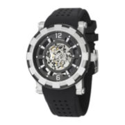 Stührling® Mens Silver-Tone Bezel Black Silicone Strap Skeleton Automatic Watch