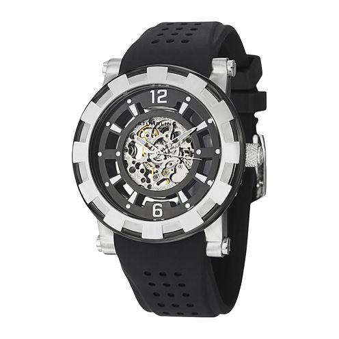 Stührling® Original Mens Silver-Tone Bezel Black Silicone Strap Skeleton Automatic Watch