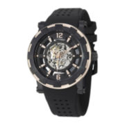 Stührling® Mens Gold-Tone Bezel Black Silicone Strap Skeleton Automatic Watch