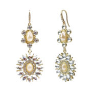 love struck™ Crystal & Simulated Pearl Double-Drop Earrings