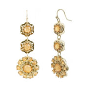 love struck™ Gold-Tone Peach Floral Triple-Drop Earrings