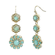 love struck™ Gold-Tone Mint Green Floral Triple-Drop Earrings