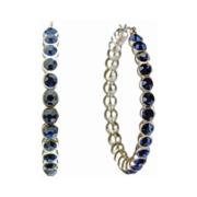 love struck™ Gold-Tone Navy Hoop Earrings