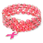 Breast Cancer Awareness Silver-Tone Pink Coil Bracelet