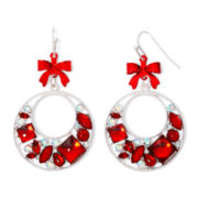 Silver-Tone Red Bow Christmas Hoop Earrings
