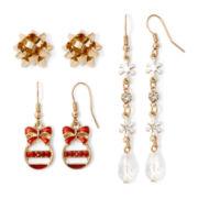 Gold-Tone 3-pr. Christmas Earring Set