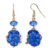 Aris by Treska Gold-Tone Blue Bead Cluster Earrings
