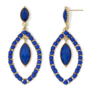 Aris by Treska Gold-Tone Blue Drop Earrings